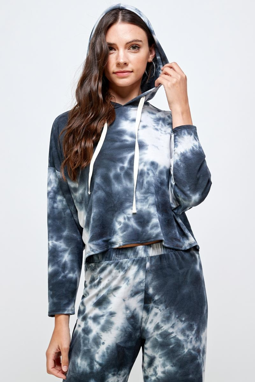 Miley and Molly Tie Dye Hoodie & Jogger Pants Set - Front Cropped Image