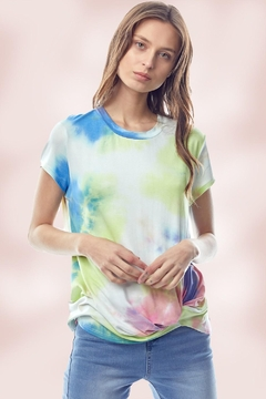 Miley and Molly Tie Dye Jersey Top With Crew Neck Twist Hem - Product List Image