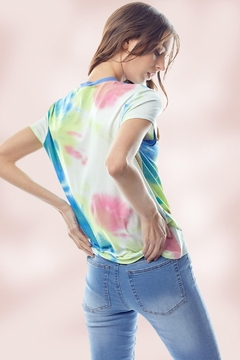 Miley and Molly Tie Dye Jersey Top With Crew Neck Twist Hem - Alternate List Image