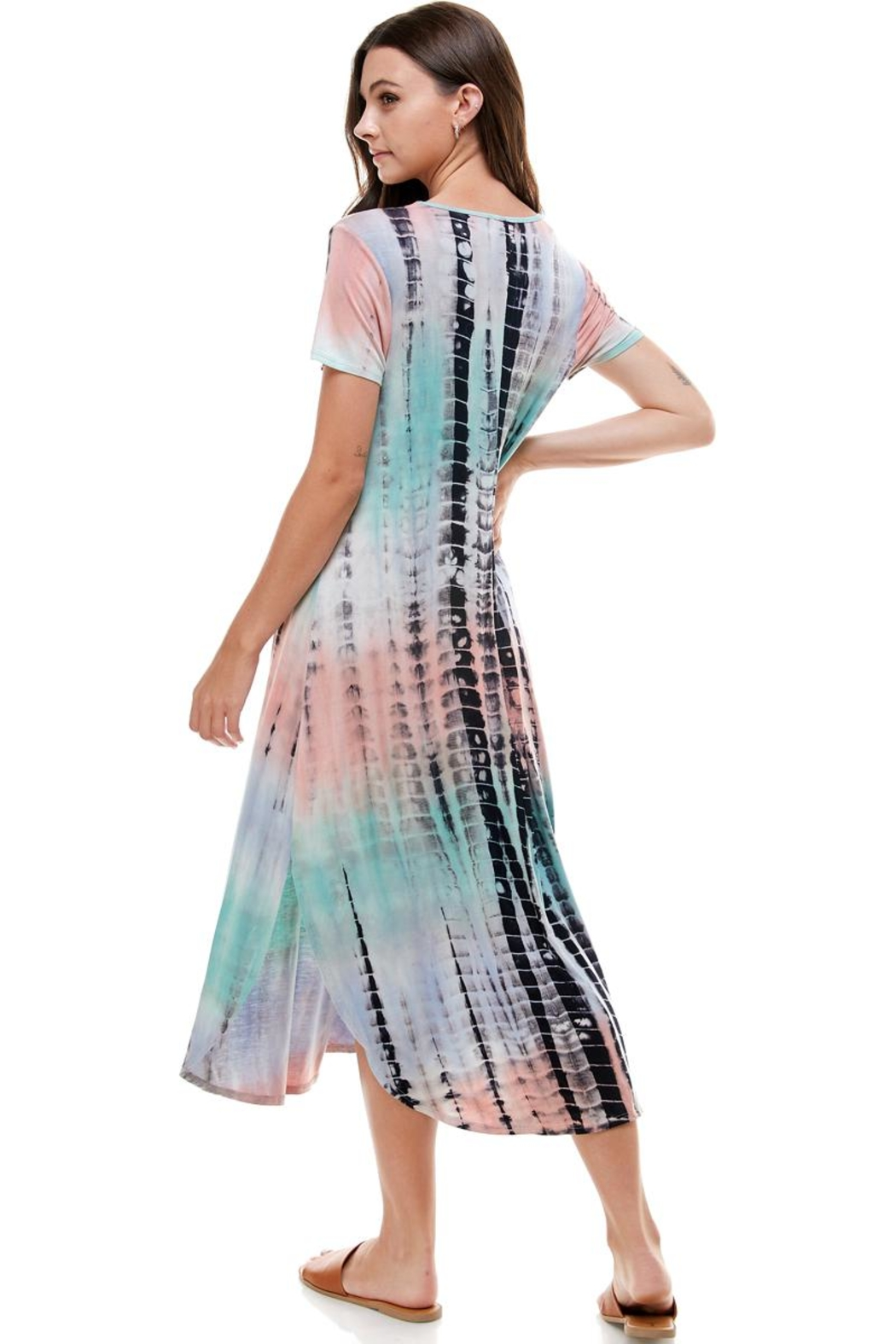 Miley and Molly Tie Dye V-Neck Loose Fit Long Maxi Dress - Back Cropped Image