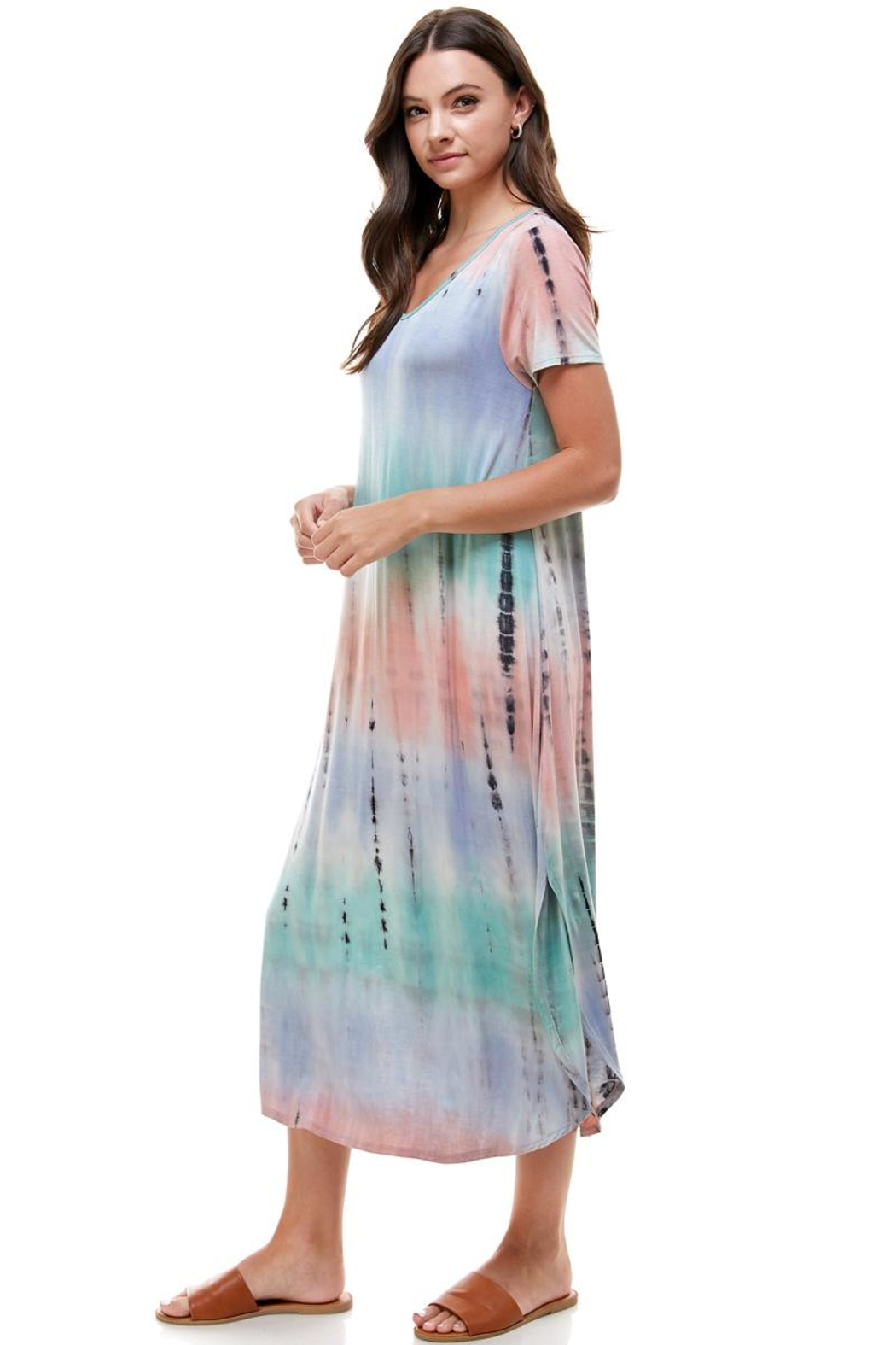 Miley and Molly Tie Dye V-Neck Loose Fit Long Maxi Dress - Side Cropped Image