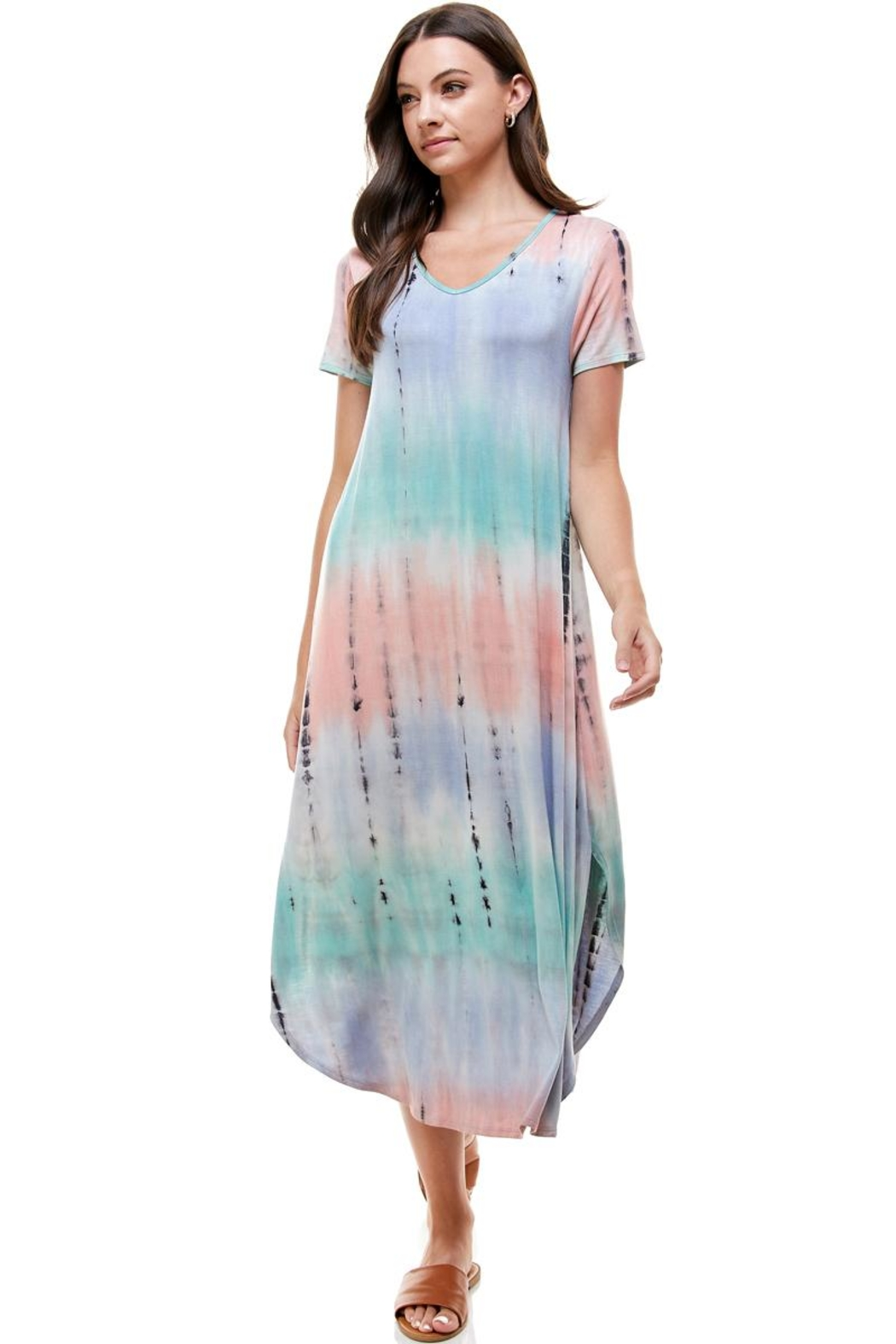Miley and Molly Tie Dye V-Neck Loose Fit Long Maxi Dress - Main Image