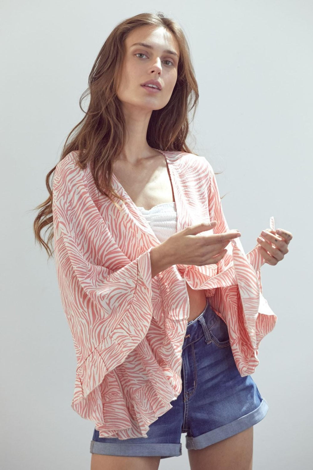 Miley and Molly Tie Front Crop Cardigan With Wide Ruffle Sleeves - Front Full Image