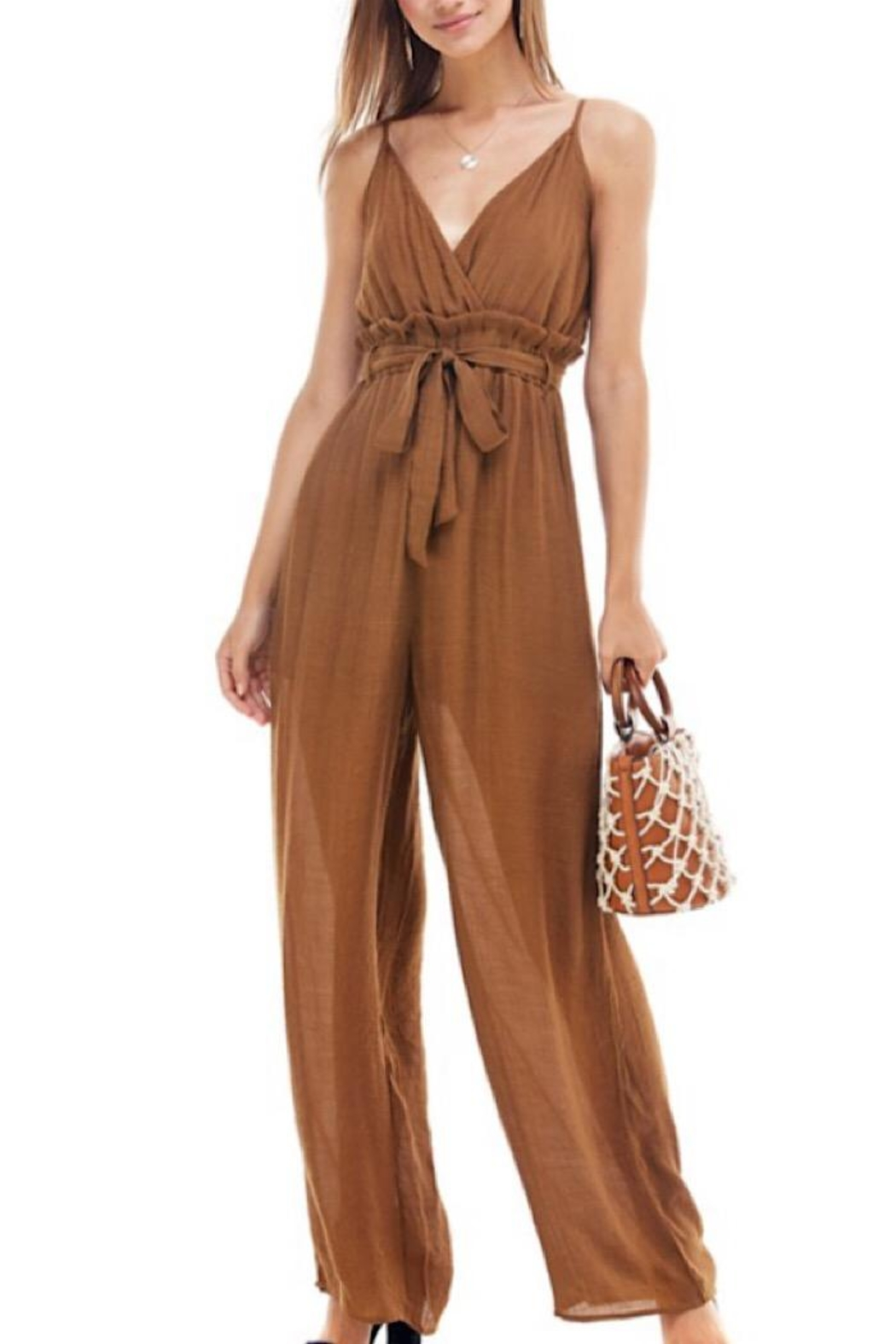 Miley and Molly Tie Waist Jumpsuit - Main Image