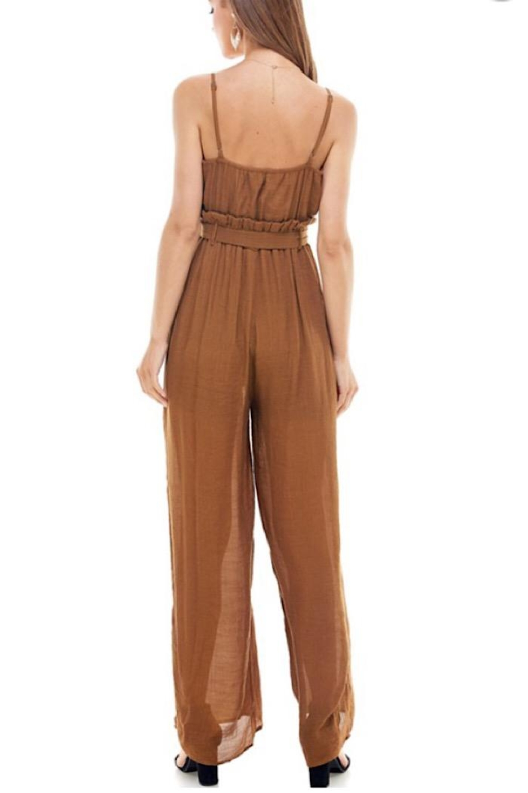 Miley and Molly Tie Waist Jumpsuit - Side Cropped Image