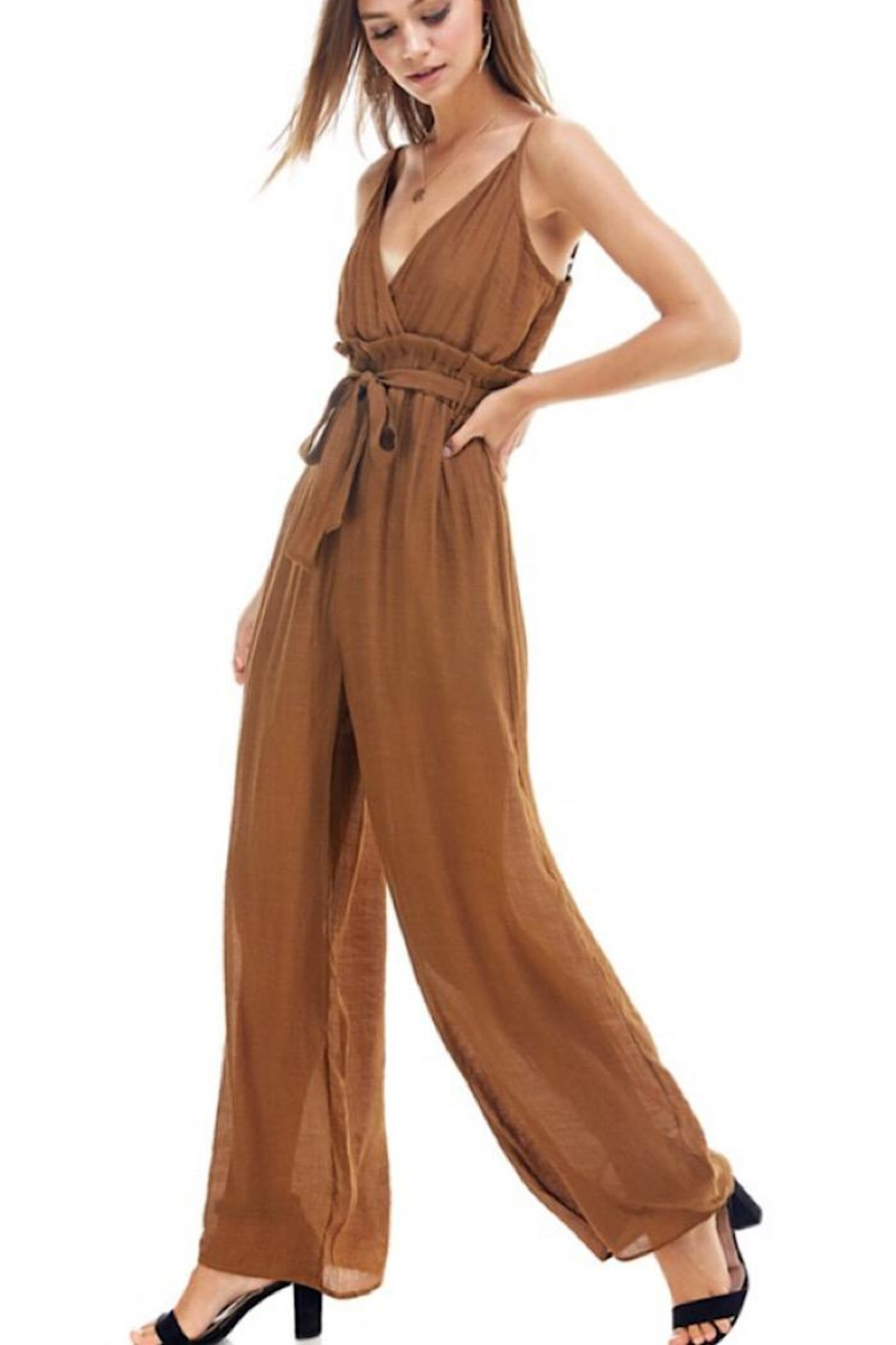 Miley and Molly Tie Waist Jumpsuit - Front Full Image