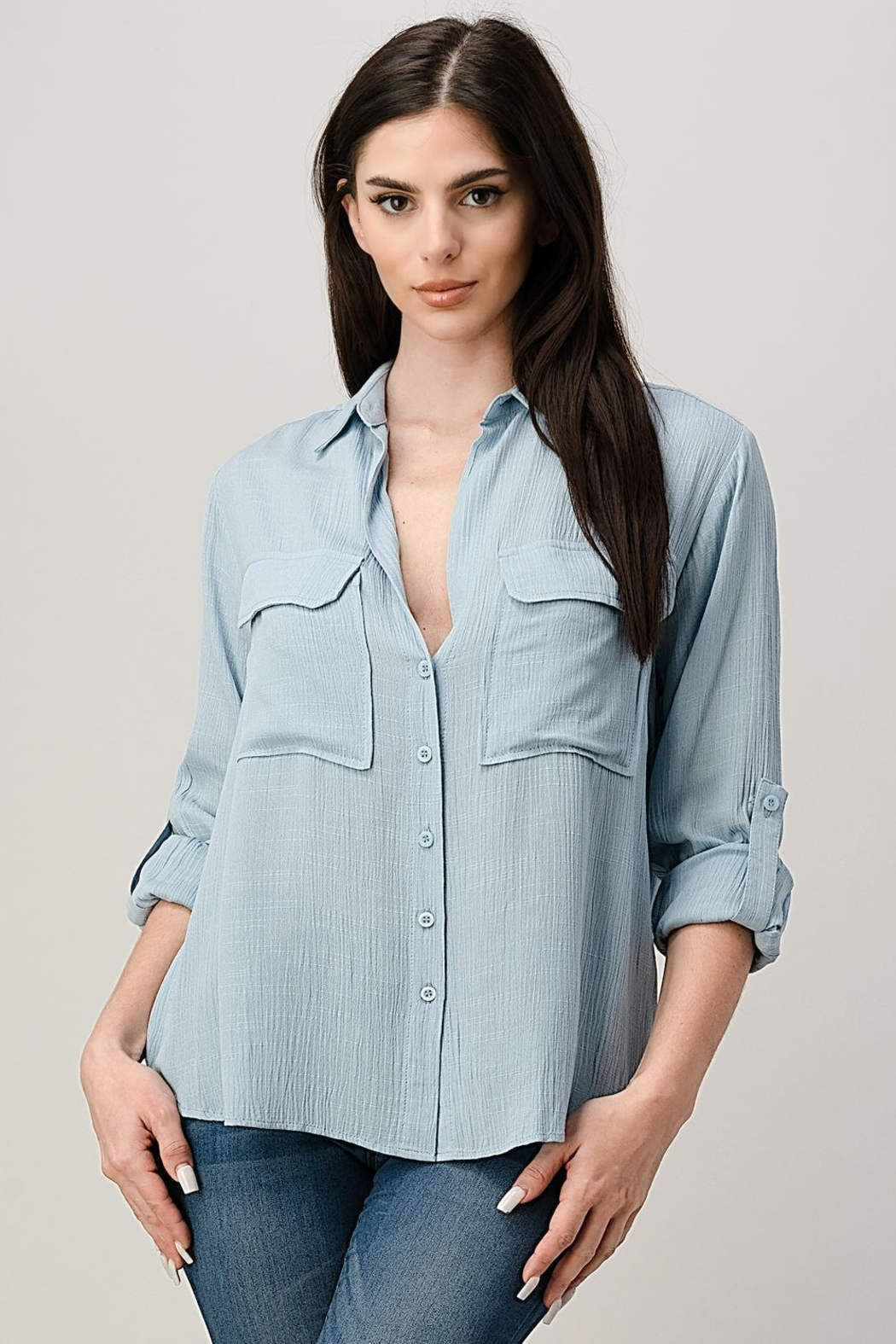 Miley and Molly Two Pocket Roll Up Sleeve Shirt Blouse Top - Main Image