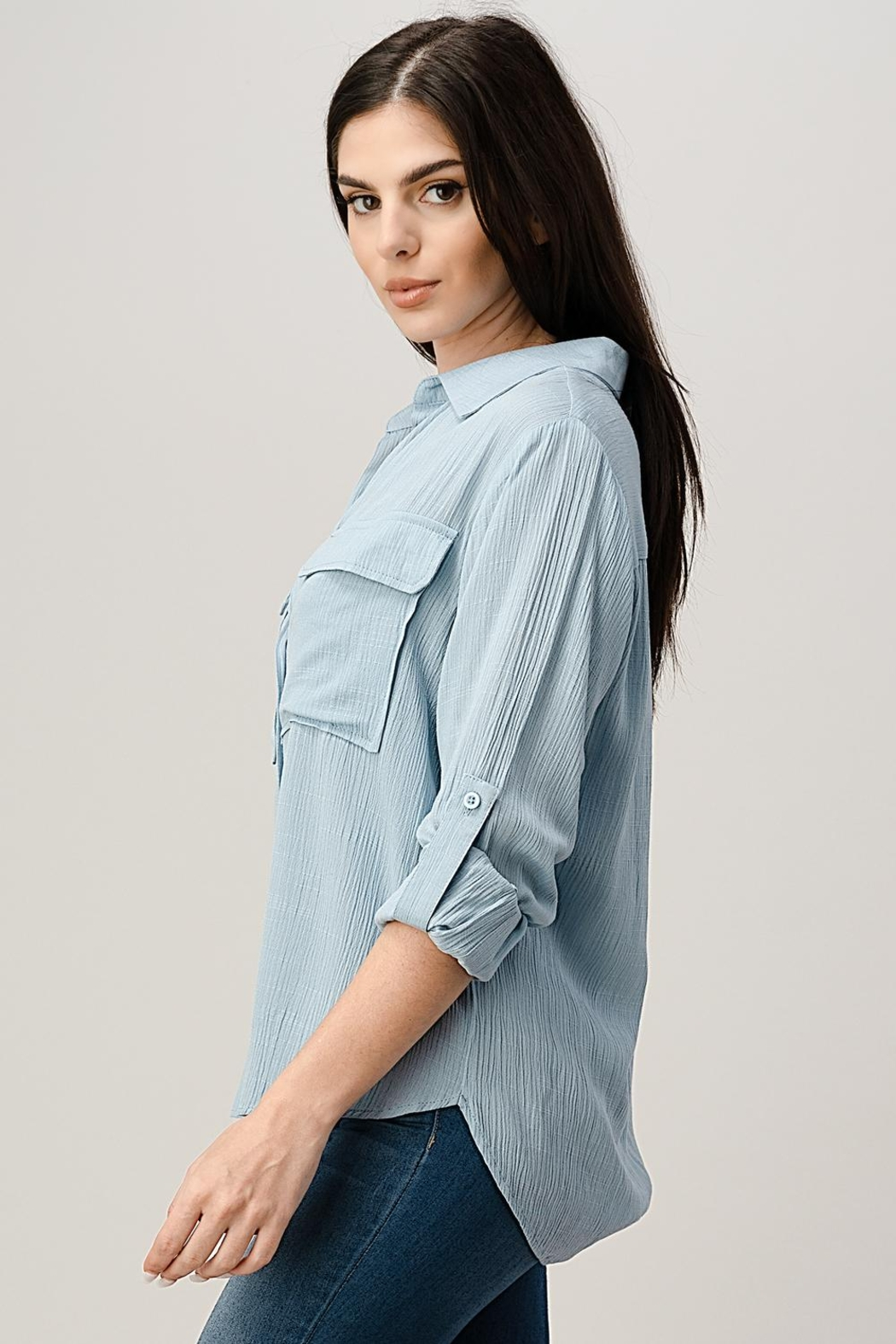 Miley and Molly Two Pocket Roll Up Sleeve Shirt Blouse Top - Front Full Image