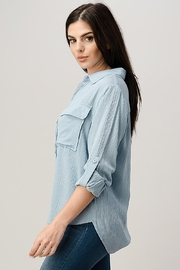 Miley and Molly Two Pocket Roll Up Sleeve Shirt Blouse Top - Front full body