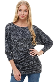Miley and Molly Two Tone Cozy Knit Dolman Sleeves Assymetrical Top - Product Mini Image