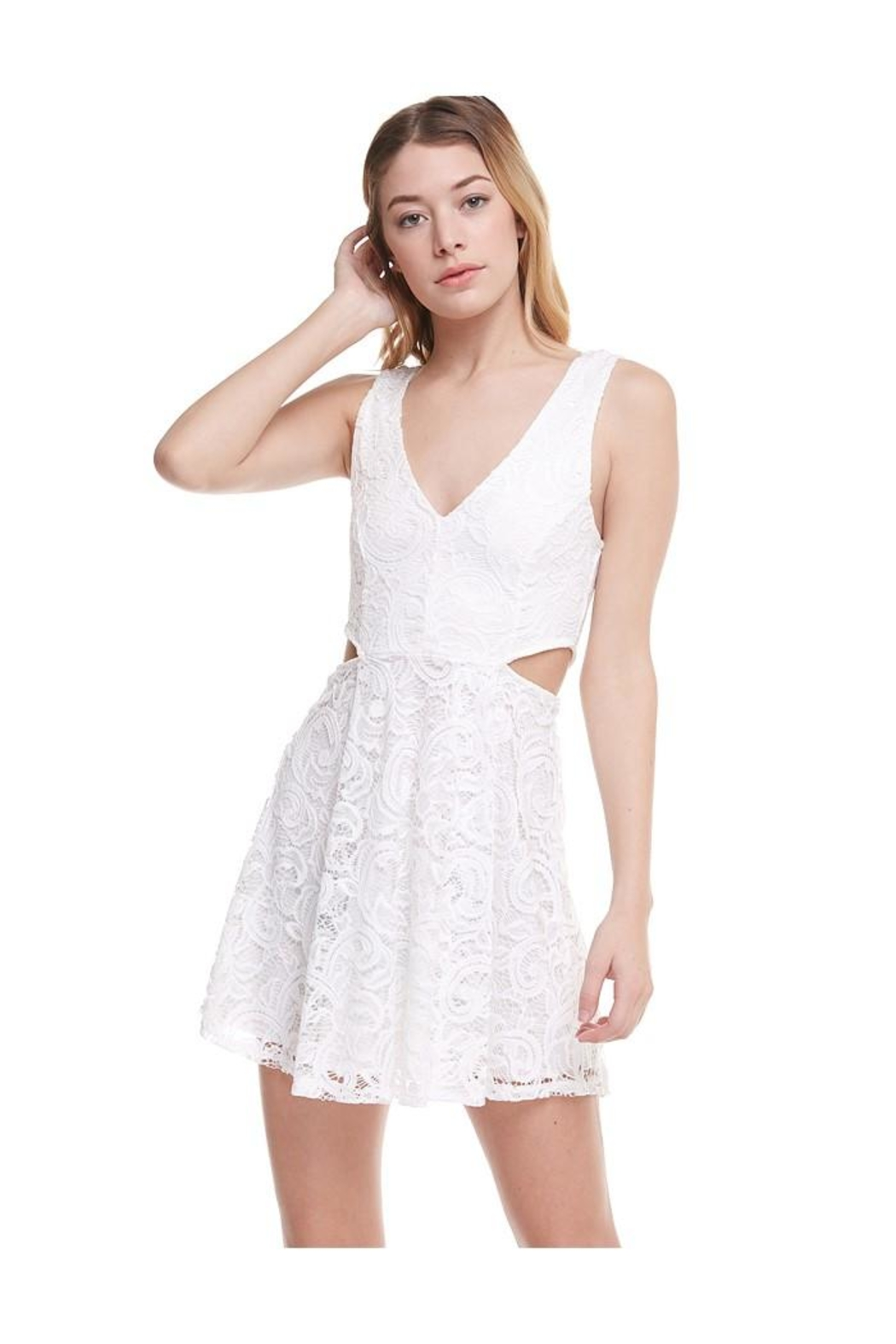 Miley and Molly V-Wire Neck Line Skater Dress - Main Image