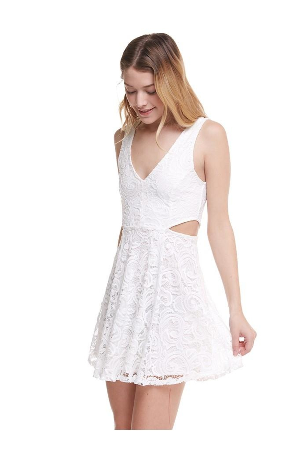 Miley and Molly V-Wire Neck Line Skater Dress - Front Full Image