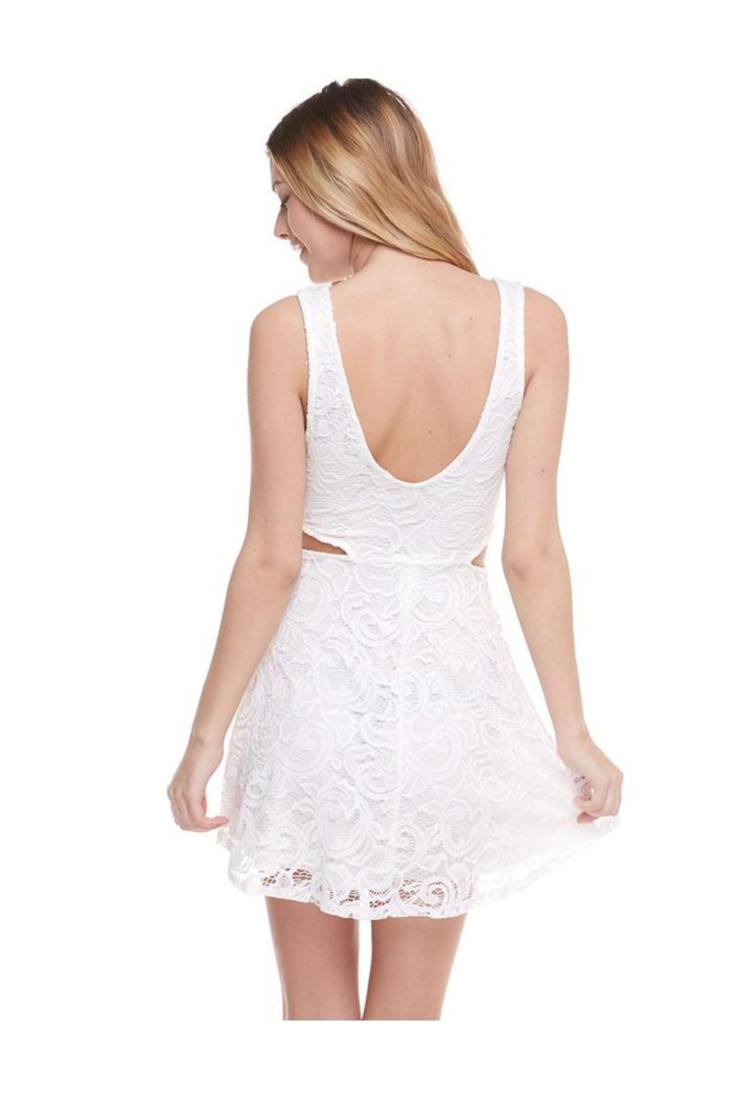 Miley and Molly V-Wire Neck Line Skater Dress - Back Cropped Image