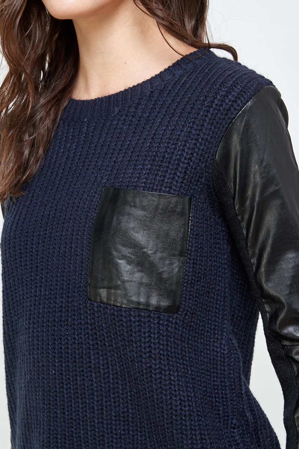 Kaii Vegan Leather Sweater High Low Top - Side Cropped Image