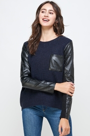 Kaii Vegan Leather Sweater High Low Top - Product Mini Image