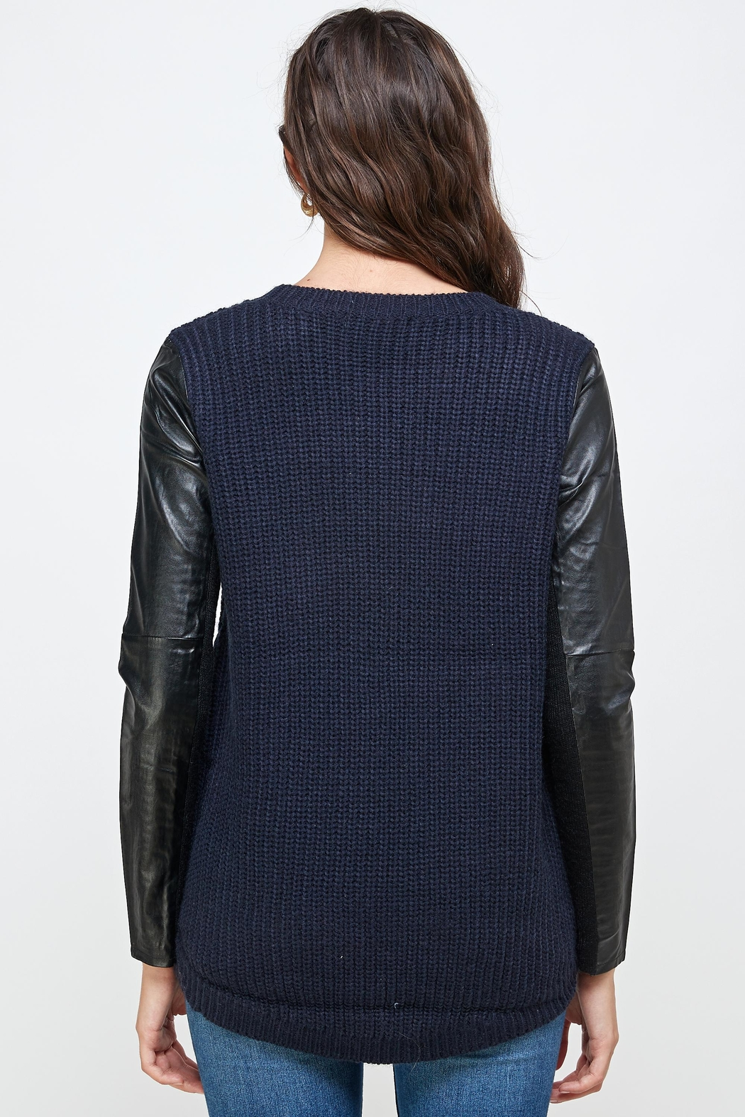 Kaii Vegan Leather Sweater High Low Top - Back Cropped Image