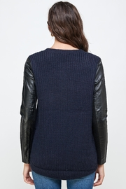 Kaii Vegan Leather Sweater High Low Top - Back cropped