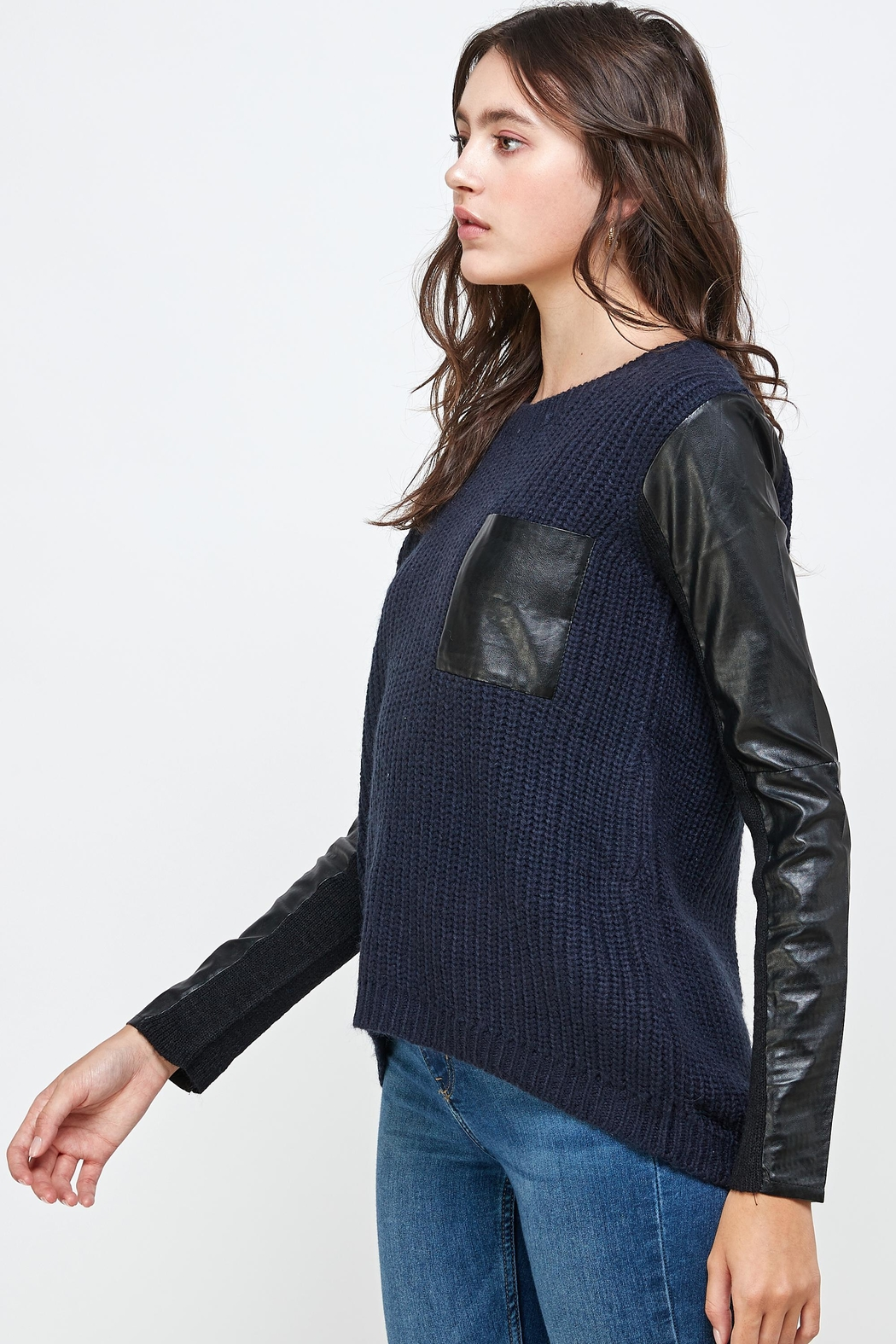 Kaii Vegan Leather Sweater High Low Top - Front Full Image