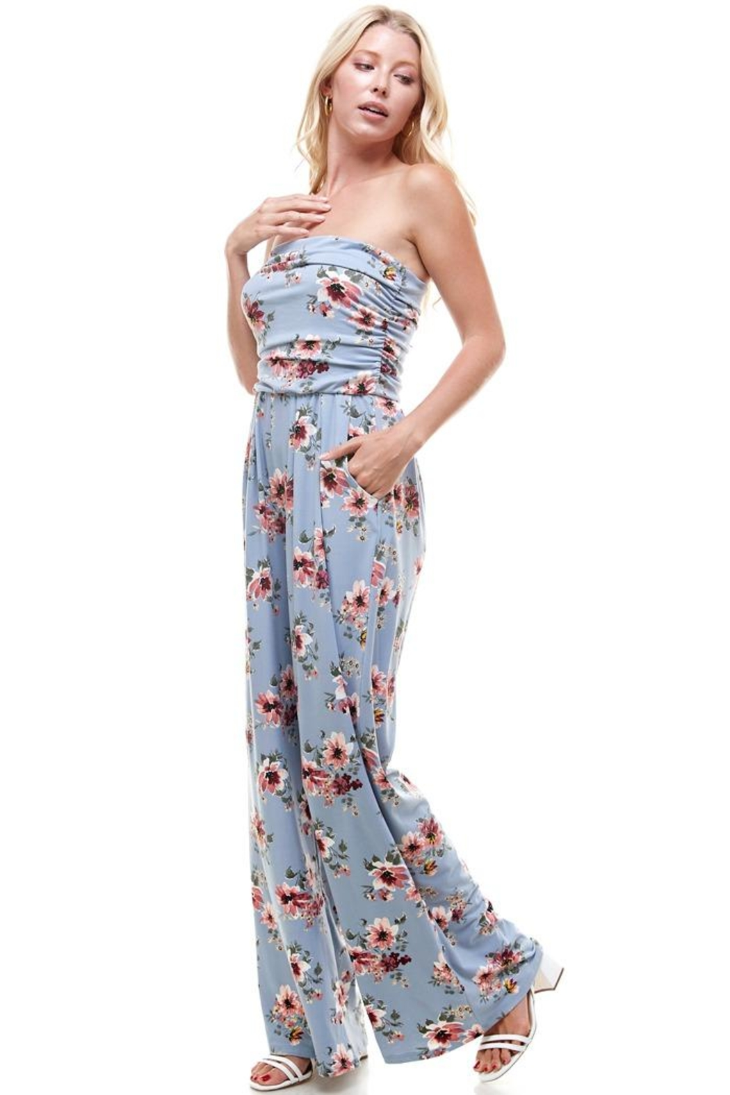 Miley and Molly Women Floral Strapless Jumpsuit - Main Image