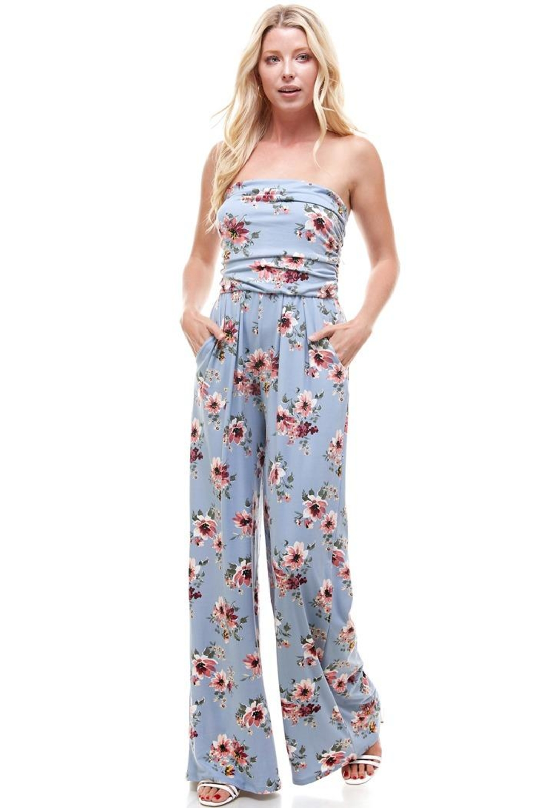 Miley and Molly Women Floral Strapless Jumpsuit - Back Cropped Image