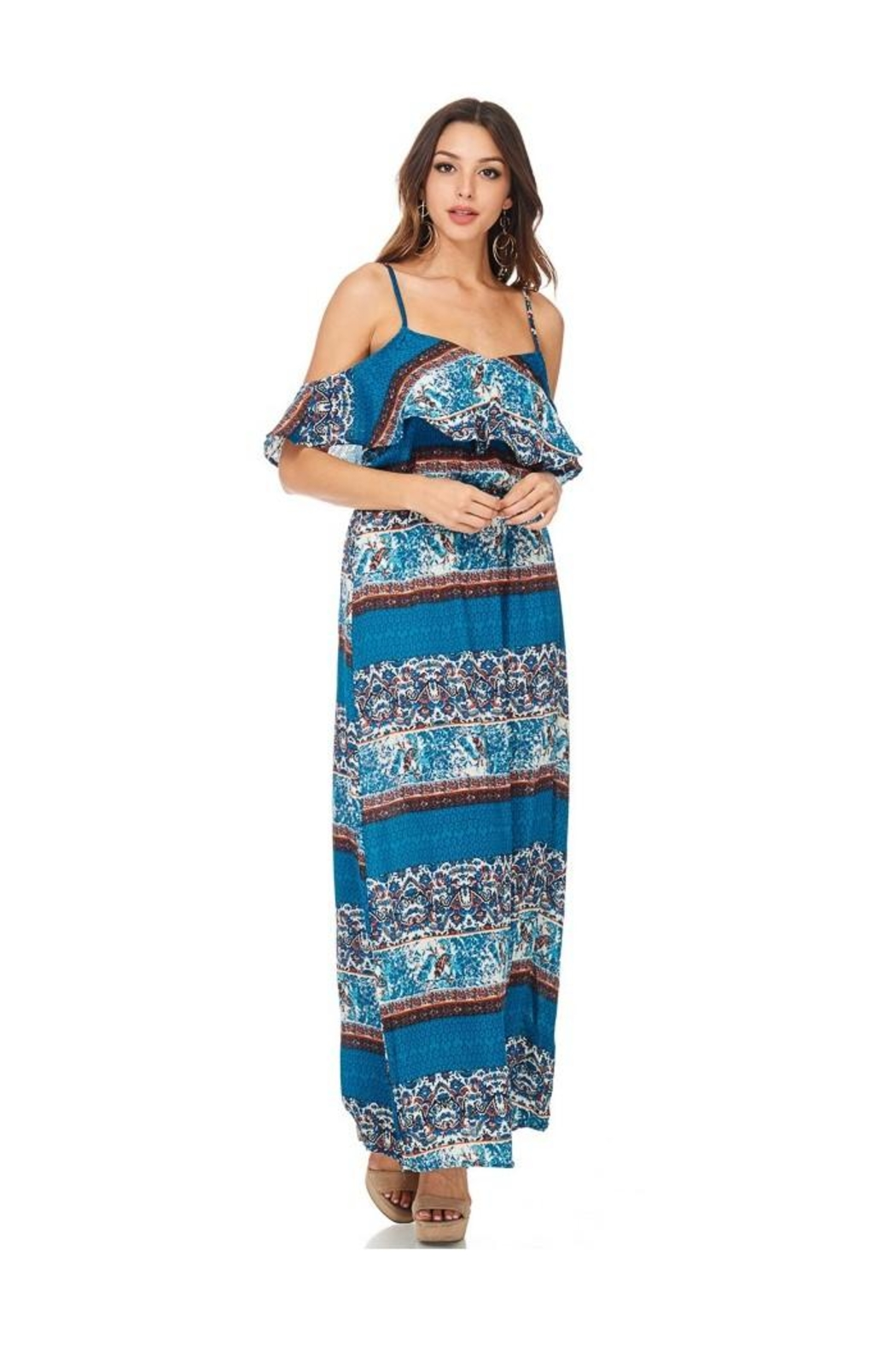 Miley and Molly Women's Dress Chiffon Print Pop Over Maxi Dress - Front Full Image