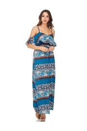 Miley and Molly Women's Dress Chiffon Print Pop Over Maxi Dress - Front full body