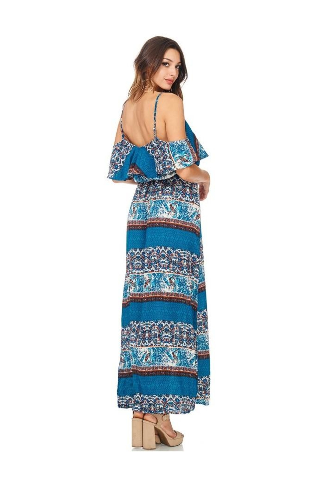 Miley and Molly Women's Dress Chiffon Print Pop Over Maxi Dress - Side Cropped Image