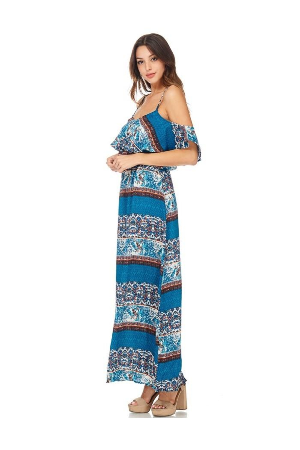Miley and Molly Women's Dress Chiffon Print Pop Over Maxi Dress - Front Cropped Image