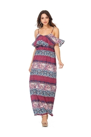 Miley and Molly Women's Dress Chiffon Print Pop Over Maxi Dress - Product Mini Image