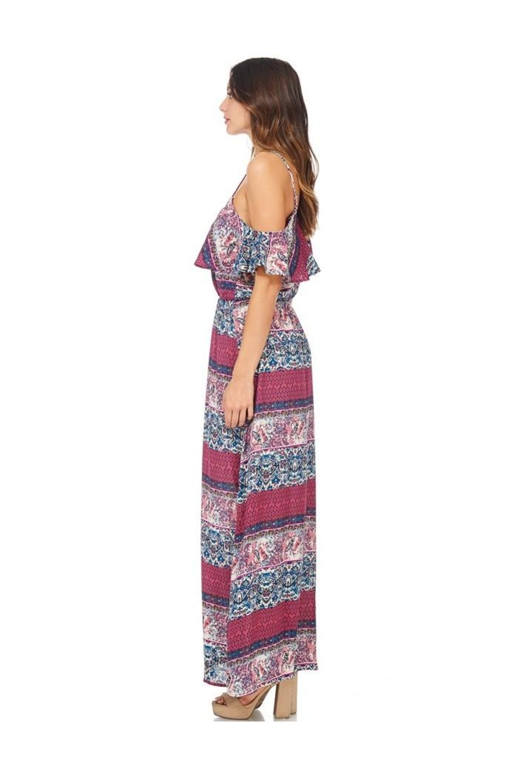 Miley and Molly Women's Dress Chiffon Print Pop Over Maxi Dress - Back Cropped Image