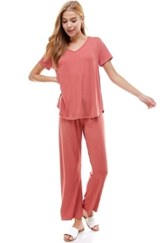 Miley and Molly Women's Loungewear Set Black Mauve Solid Color Short Sleeve Set - Product Mini Image