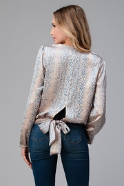 Miley and Molly Women Surplice Long Sleeve Tie Back Blouse Top - Side cropped