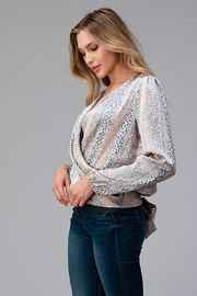Miley and Molly Women Surplice Long Sleeve Tie Back Blouse Top - Front full body