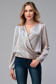 Miley and Molly Women Surplice Long Sleeve Tie Back Blouse Top - Product List Image