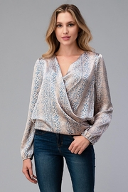 Miley and Molly Women Surplice Long Sleeve Tie Back Blouse Top - Front cropped