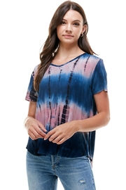 Miley and Molly Women Tie Dye V Neck Loose Fit Top - Product Mini Image