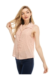 Miley and Molly Wool Dobby Foil Print Pearl Button Blouse - Product Mini Image