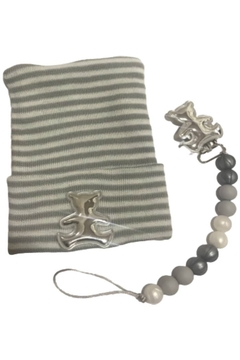 MILIBO Milibo Beanie Hat Set with a Silicon Pacifier Clip and Silver Teddy Bear - Product List Image