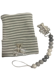 MILIBO Milibo Beanie Hat Set with a Silicon Pacifier Clip and Silver Teddy Bear - Product Mini Image