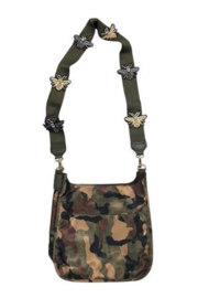 Ah!dorned MILITARY CAMO NYLON MESSENGER W/ARMY BEE STRAP - Front cropped