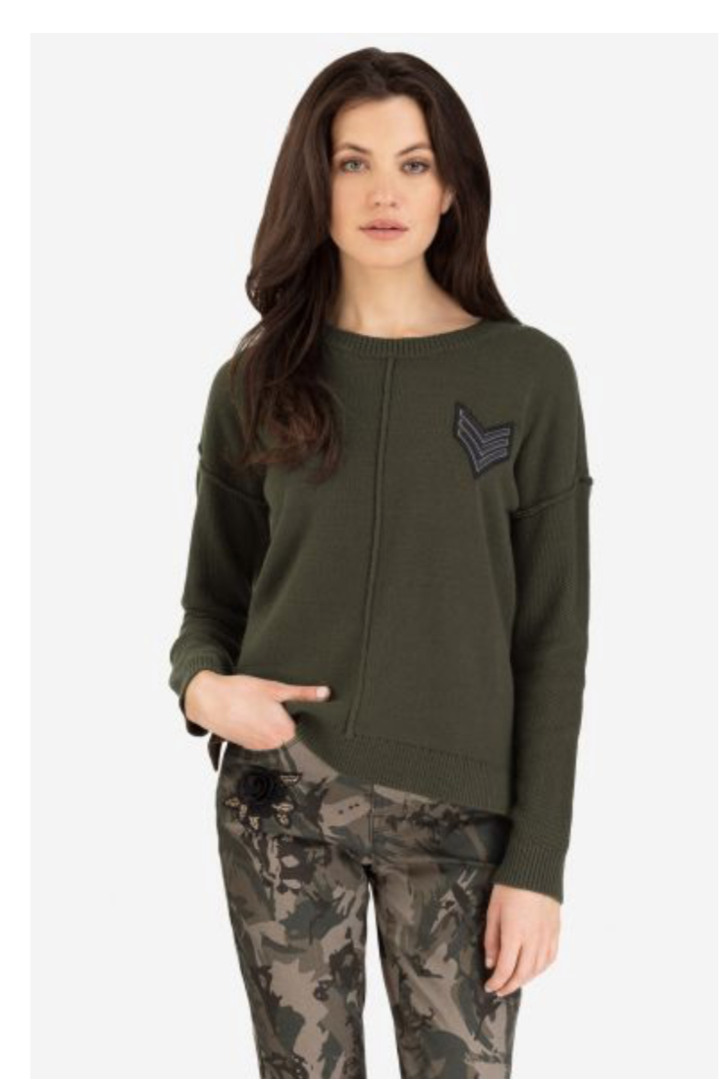 Tribal Military Crew Sweater - Front Cropped Image