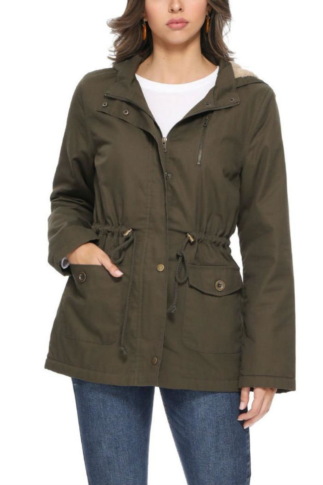 1 Funky Military  Utility  Jacket - Front Cropped Image