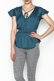 Milk & Honey Teal Satin Top - Product Mini Image