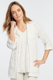 Nic + Zoe Milk white lightweight open front cardigan, jacquard pattern with 3/4 cuffed sleeves. - Product Mini Image