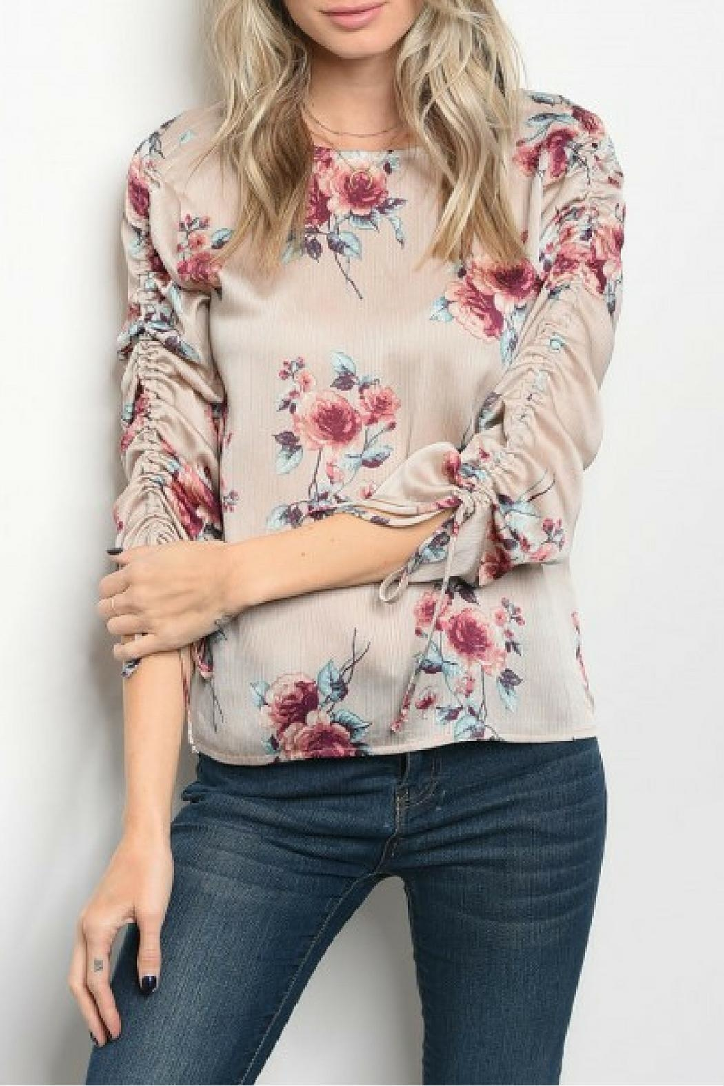 Milk & Honey Taupe Floral Top - Main Image