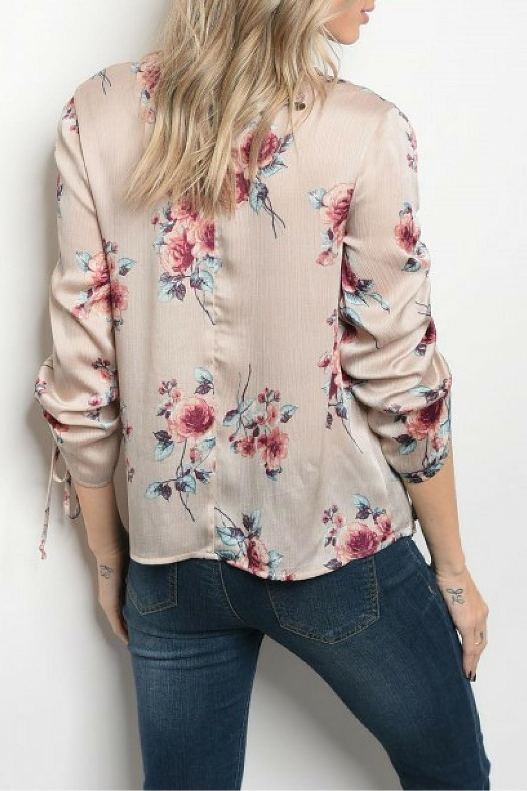 Milk & Honey Taupe Floral Top - Front Full Image