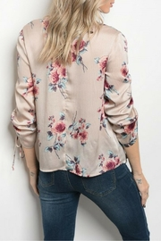 Milk & Honey Taupe Floral Top - Front full body