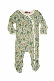 Milkbarn Kids Footed Romper Blue Floral - Front cropped