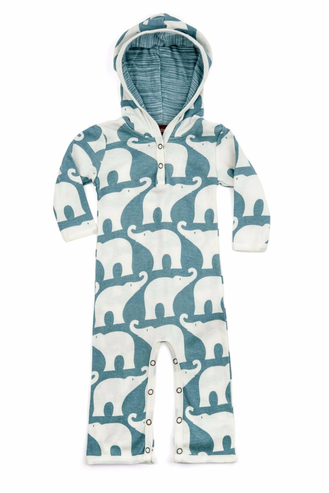 Milkbarn Kids Hooded Romper Elephant - Main Image
