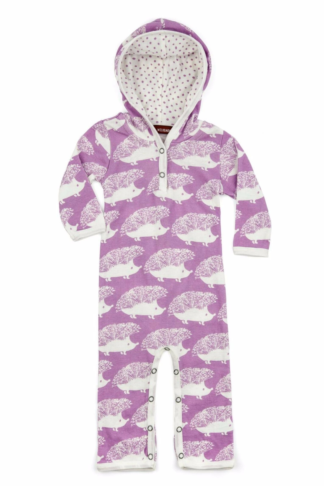 Milkbarn Kids Purple Hooded Romper Hedgehogs - Main Image